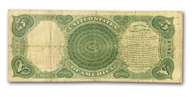 1907 $5.00 Legal Tender Andrew Jackson/Woodchopper VG (FR#91)