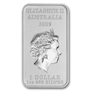 2009 1 oz Silver Australian Kangaroo Dreaming (Rectangle)