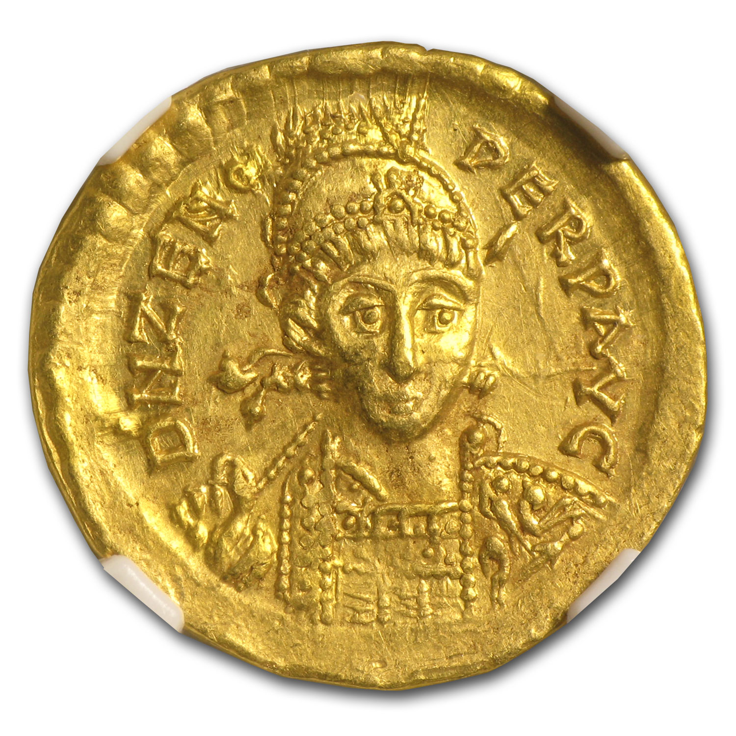 Eastern Roman Gold Solidus of Emperor Zeno Ch AU NGC (474-491 AD)