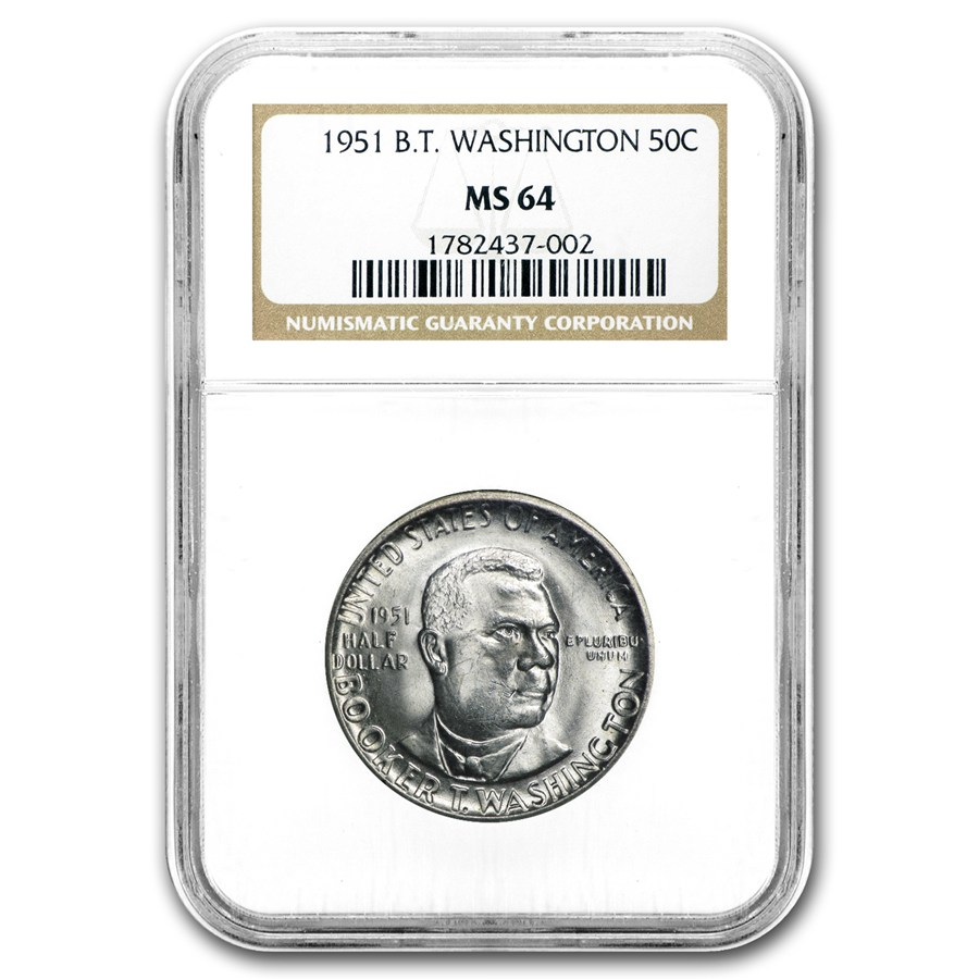 1951 Booker T  Washington Half Dollar MS-64 NGC - Gold Silver Prices
