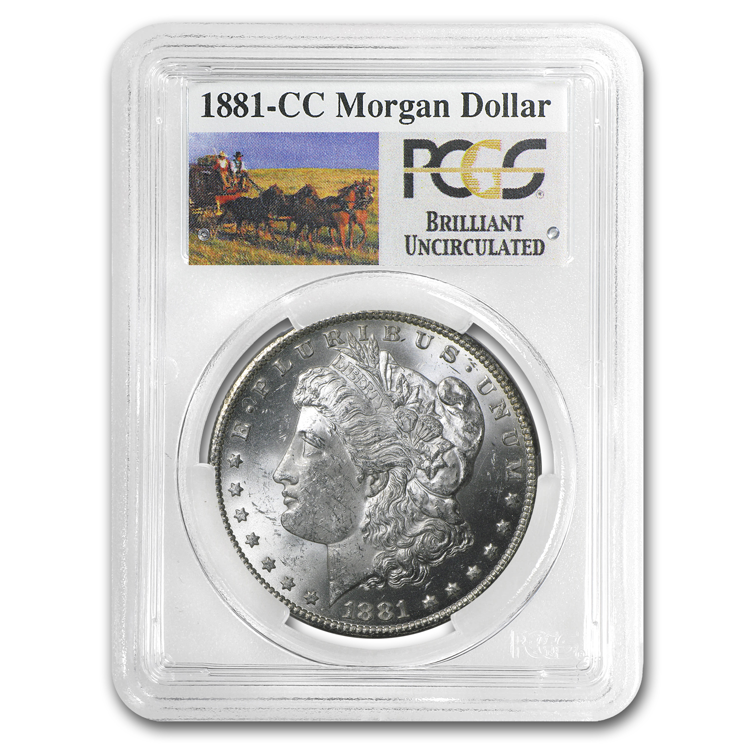 1881-CC Brilliant Uncirculated PCGS Stage Coach Silver Dollars