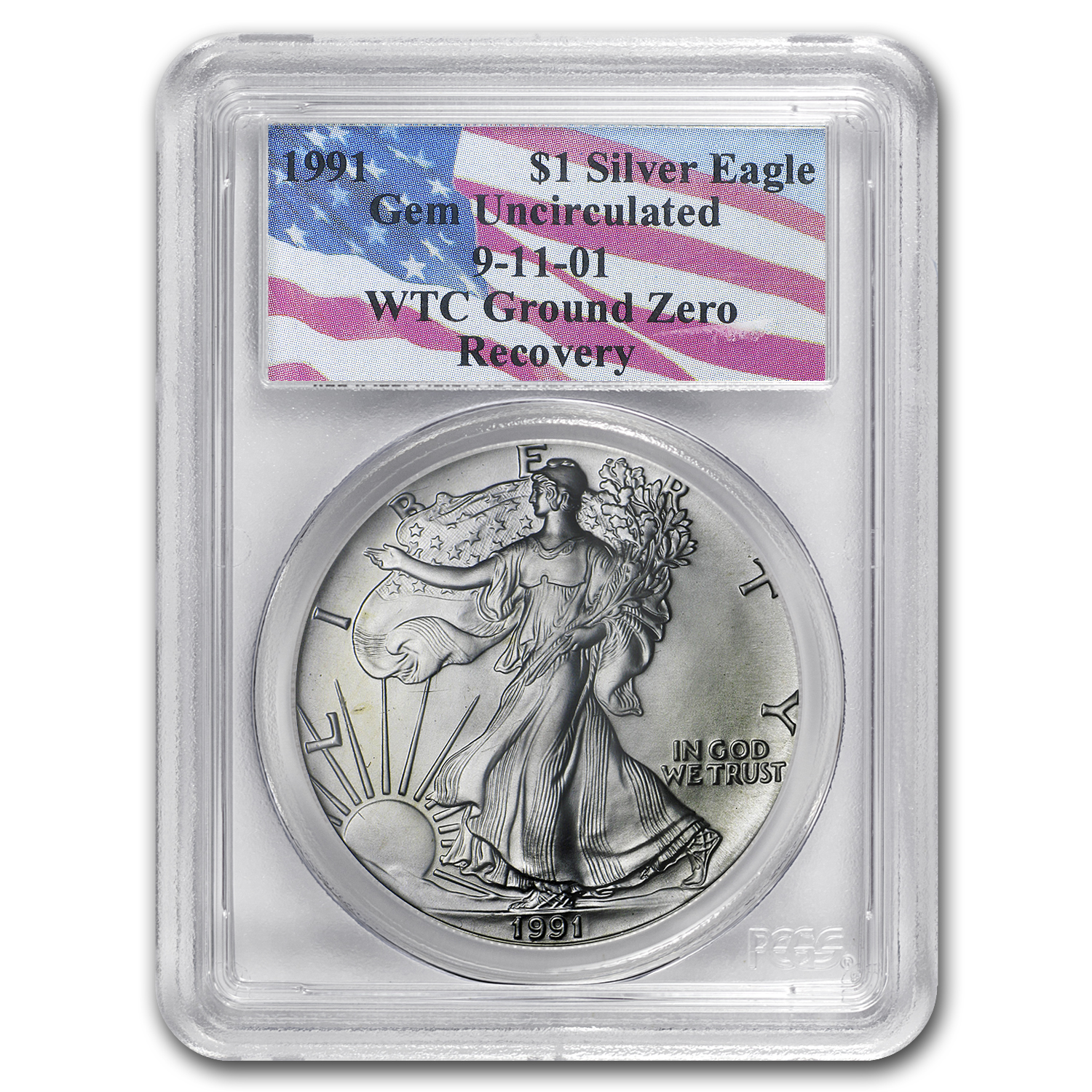 1991 Silver American Eagle Gem Unc PCGS (World Trade Center)