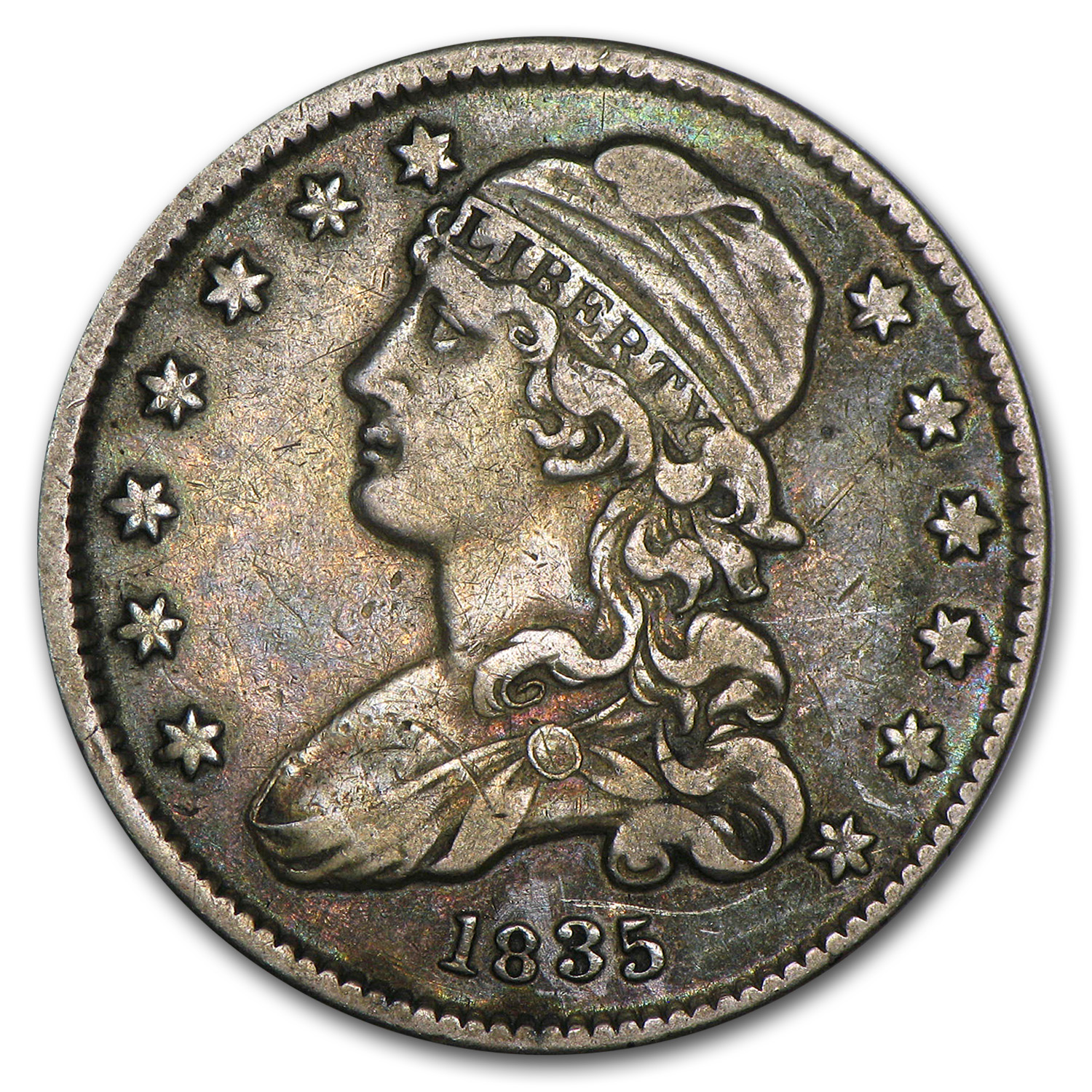 1835 Capped Bust Quarter Vf Gold And Silver