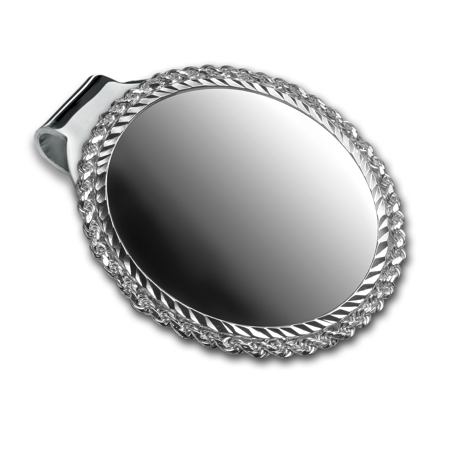 Sterling Silver Rope-Polished Hinge Back Money Clip - 40.6 mm