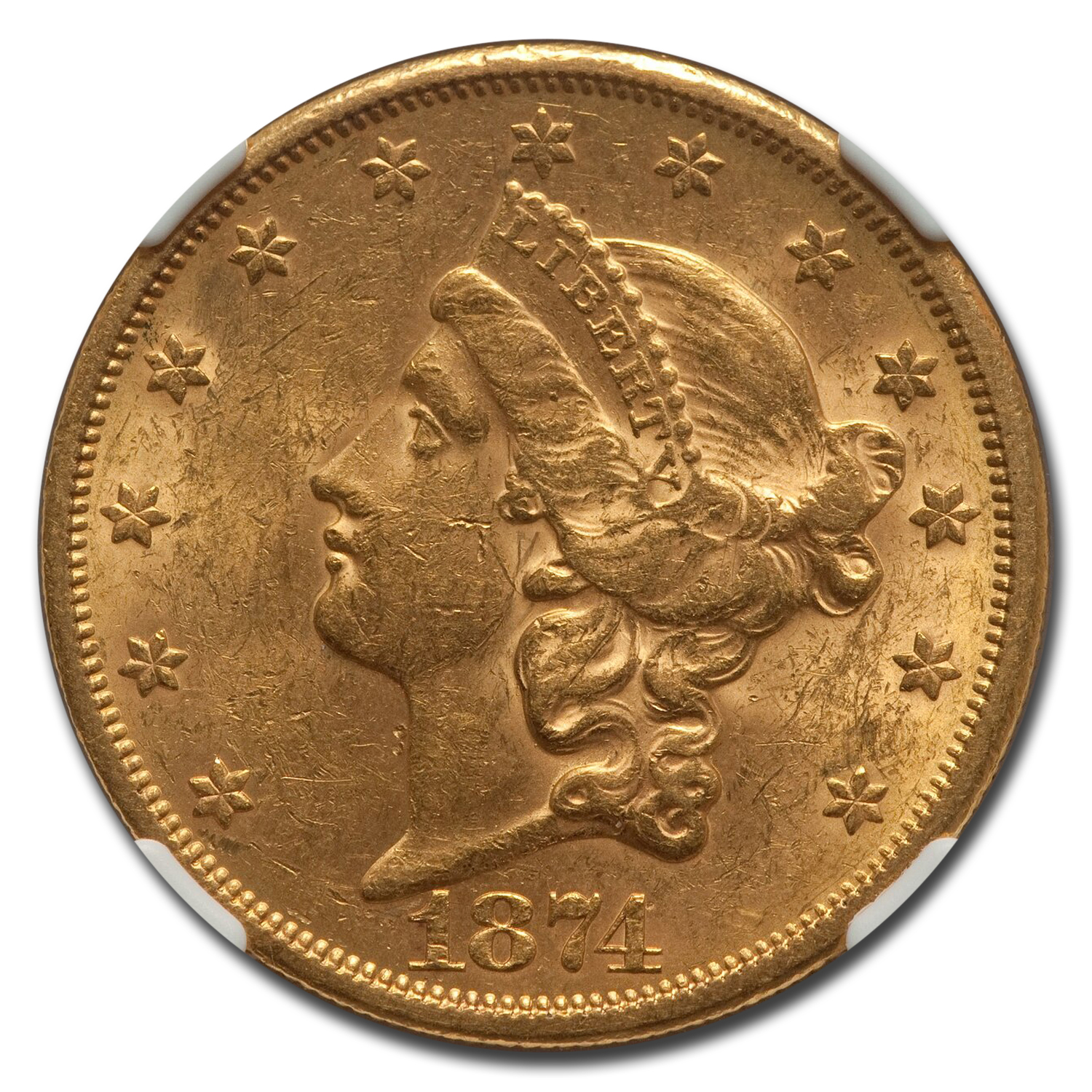 1874-S $20 Liberty Gold Double Eagle AU-58 NGC