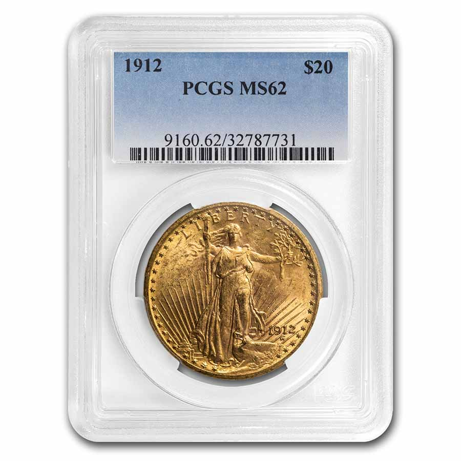 1912 $20 St. Gaudens Gold Double Eagle MS-62 PCGS