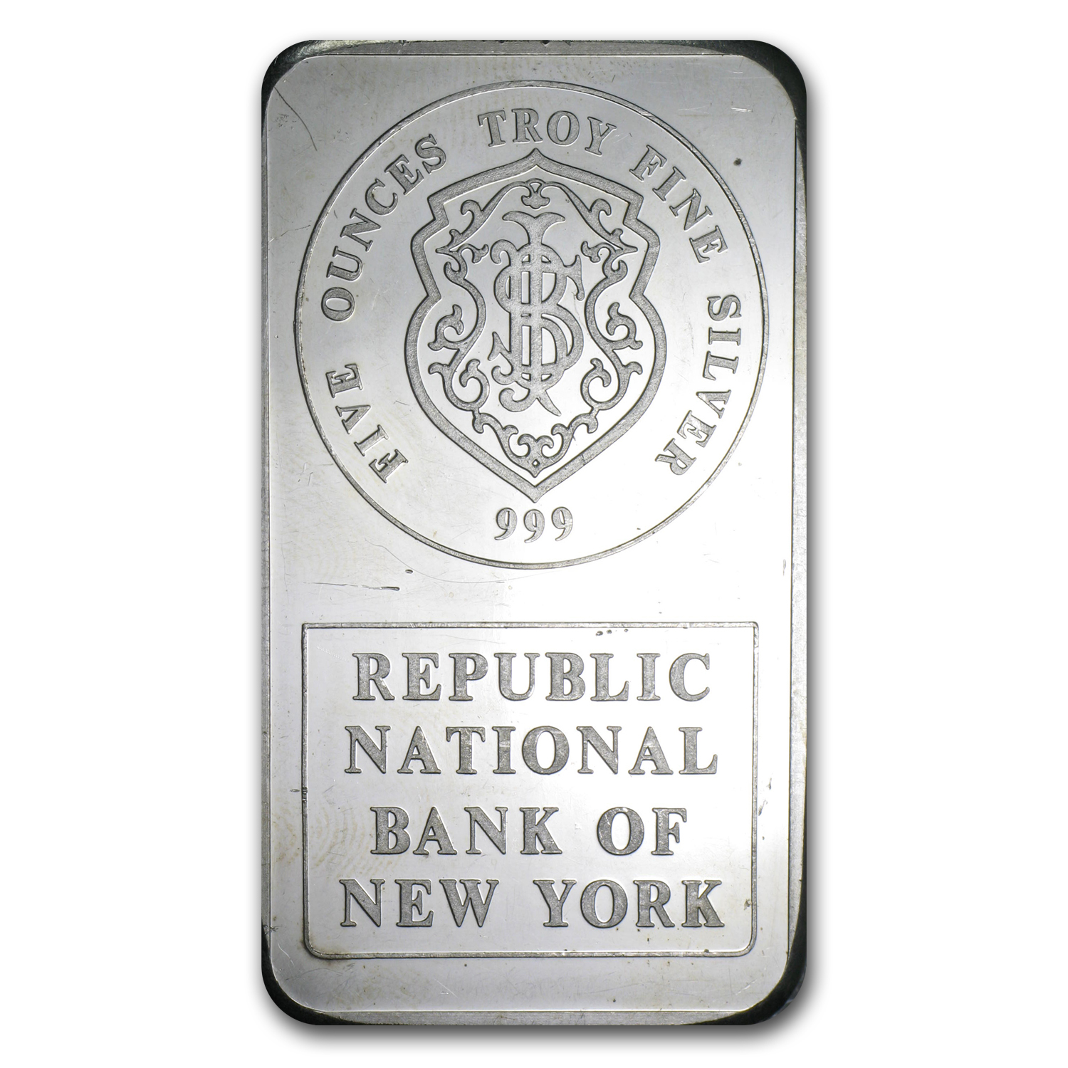 5 oz Silver Bar - Johnson Matthey (Republic National Bank of NY)