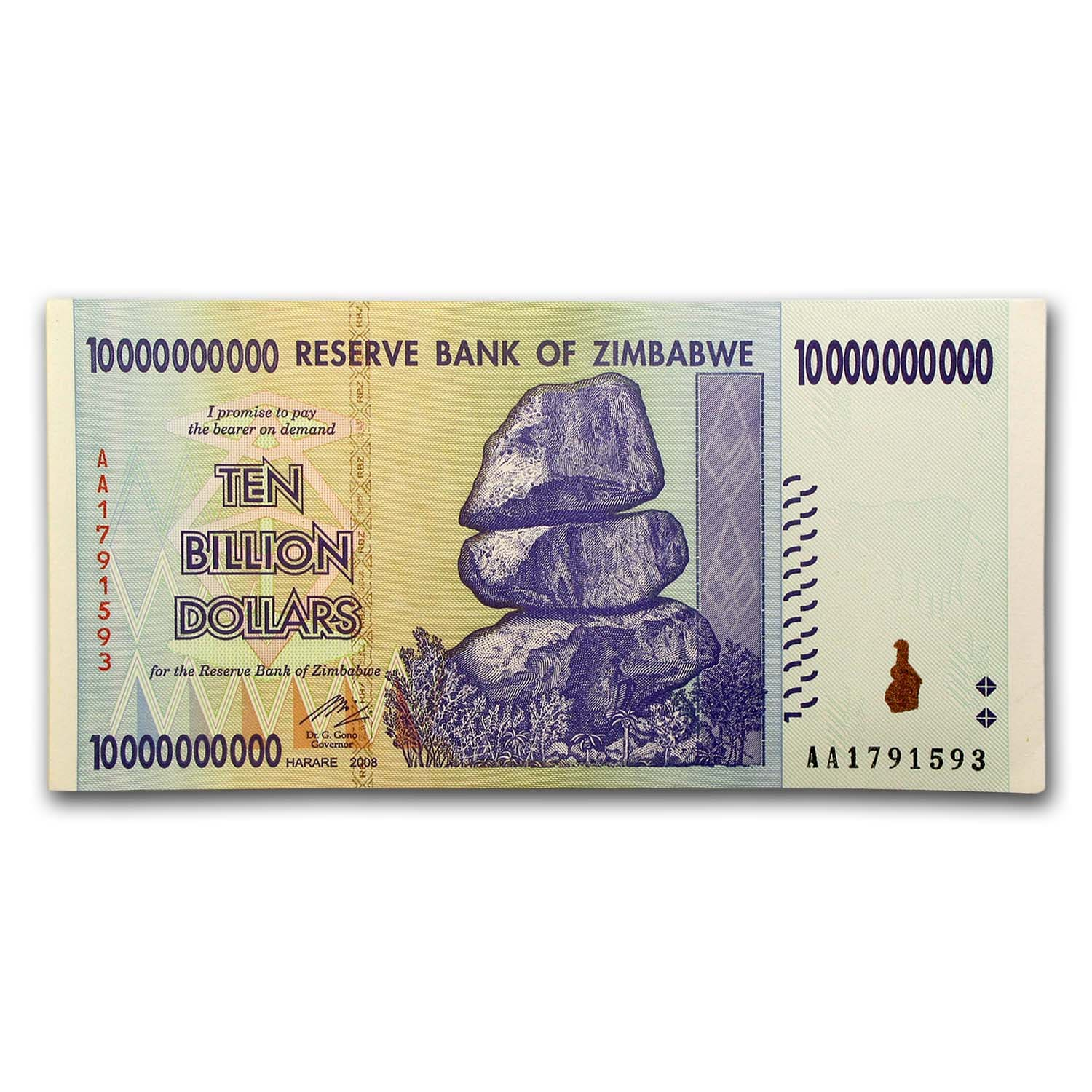 2008 Zimbabwe 10 Billion Dollars Rock Formation Dam Miner