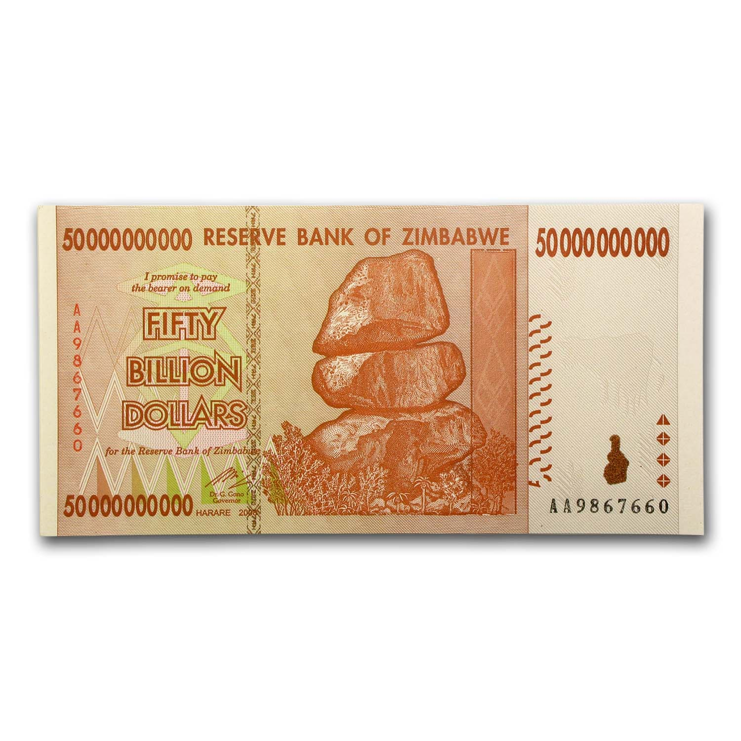 2008 Zimbabwe 50 Billion Dollars Rock Formation Fort Tower Unc
