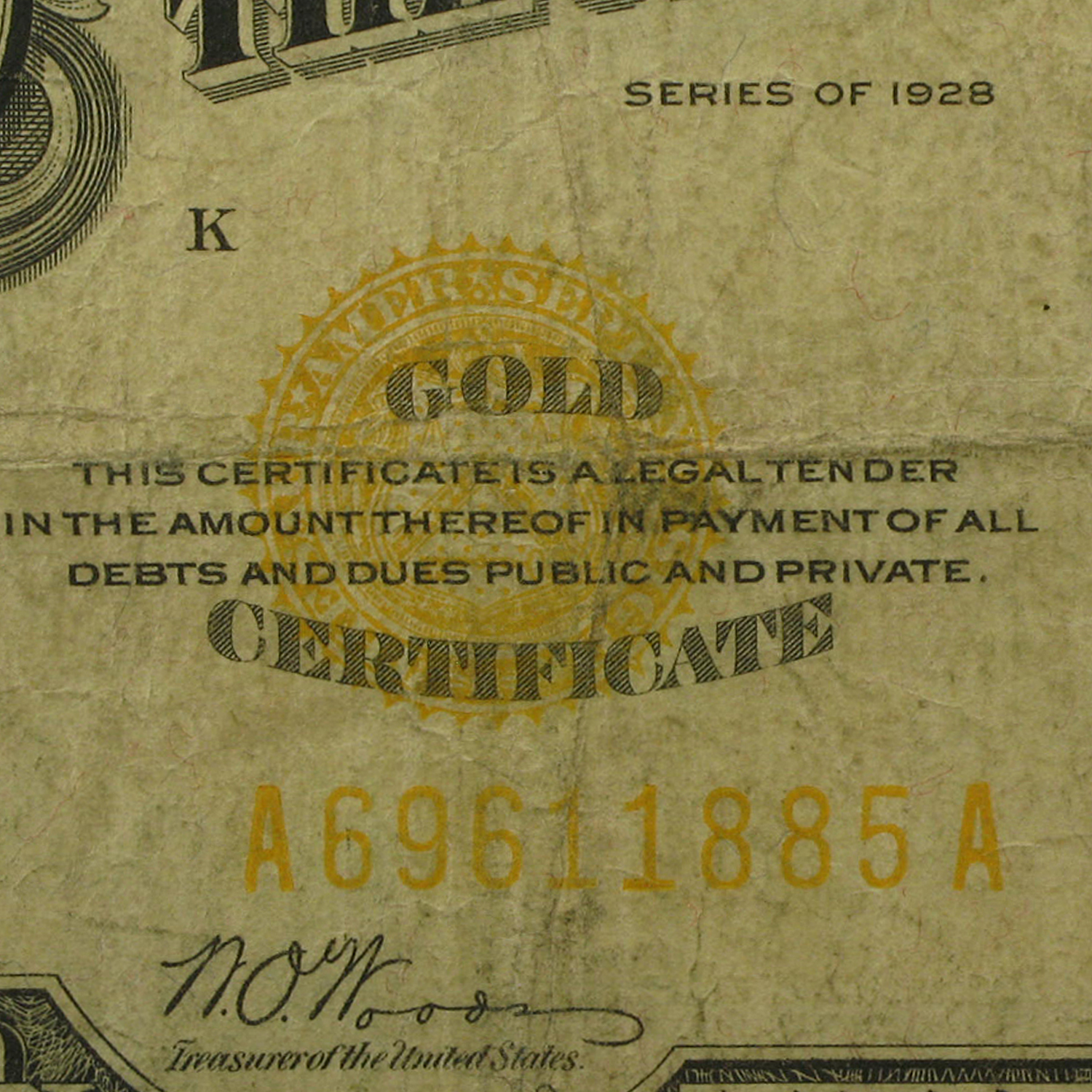 1928 $10 Gold Certificate (Very Good)