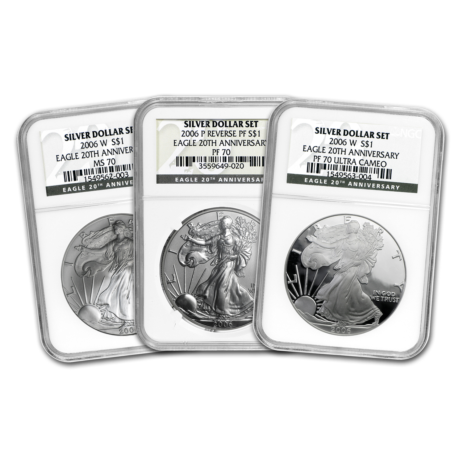 2006-W 3-Coin Silver Eagle Set MS/PF-70 NGC (Registry Set)
