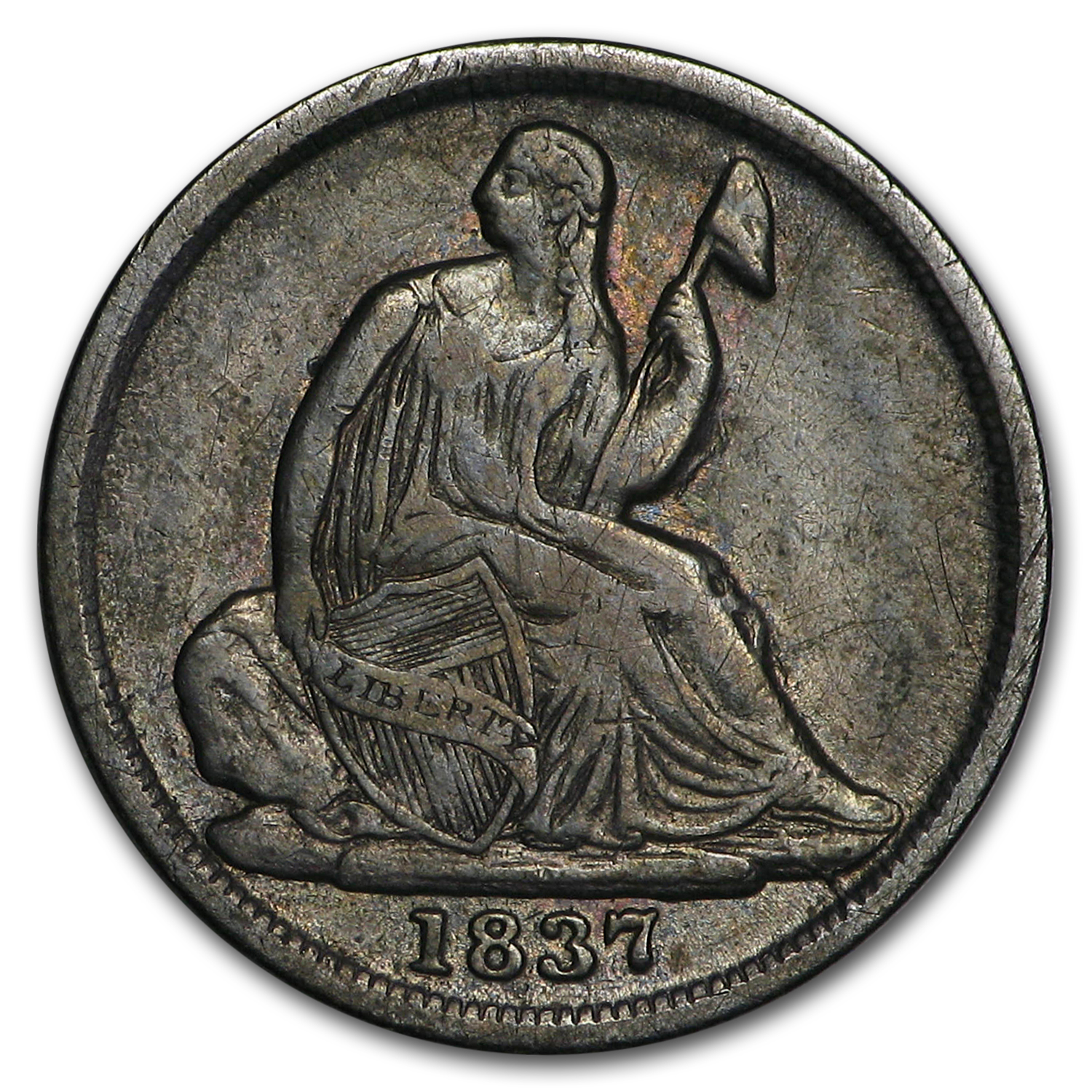 1837 Liberty Seated Half Dime Large Date XF