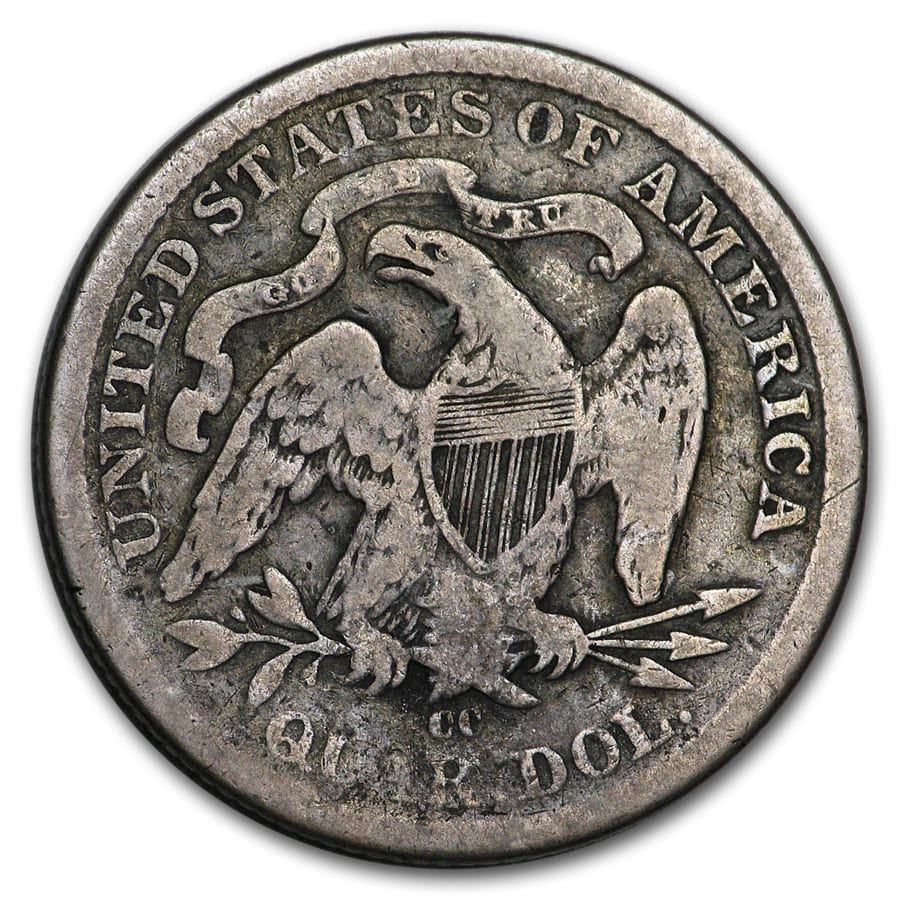 1877-CC Liberty Seated Quarter VF