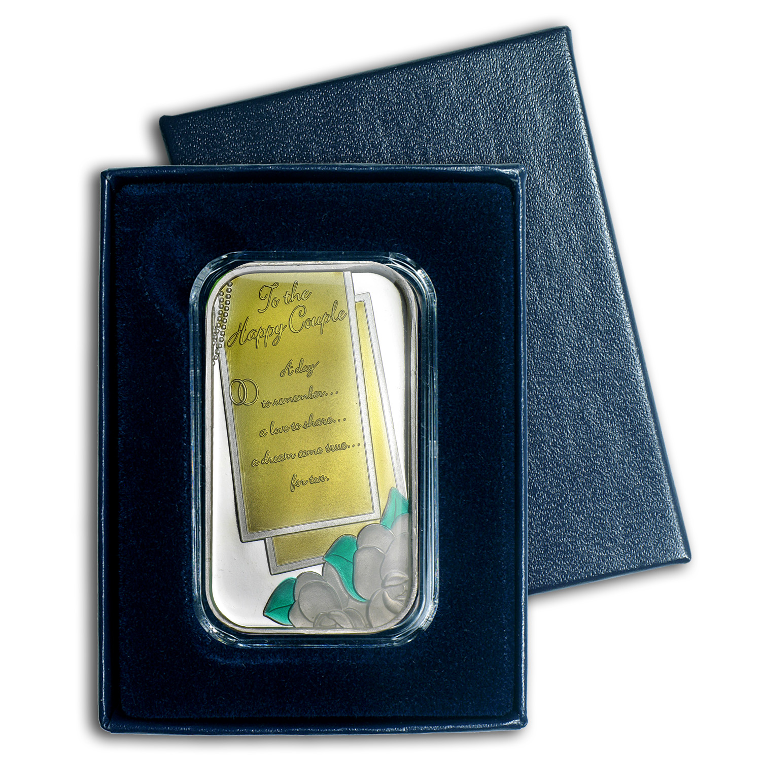 1 oz Silver Bar - Wedding (Enameled, w/Box & Capsule)