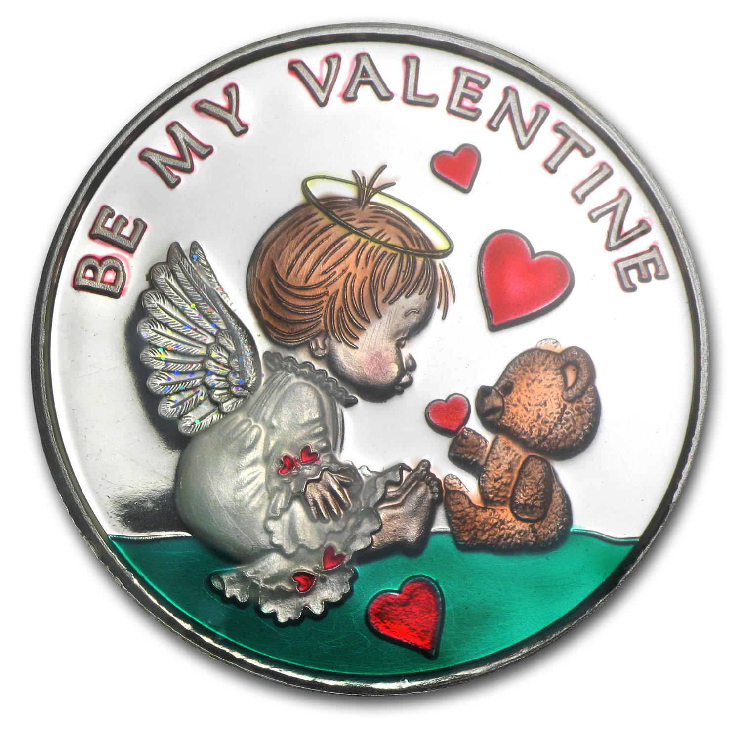 1 oz Be My Valentine Enameled Silver Round (w/box & capsule)