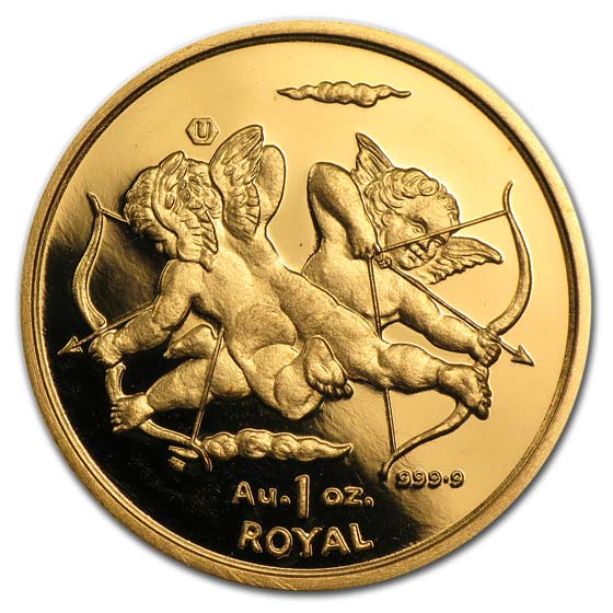 Gibraltar 1 Royal 1 oz.999.9 Fine Gold UNC Cherubs Random Dates