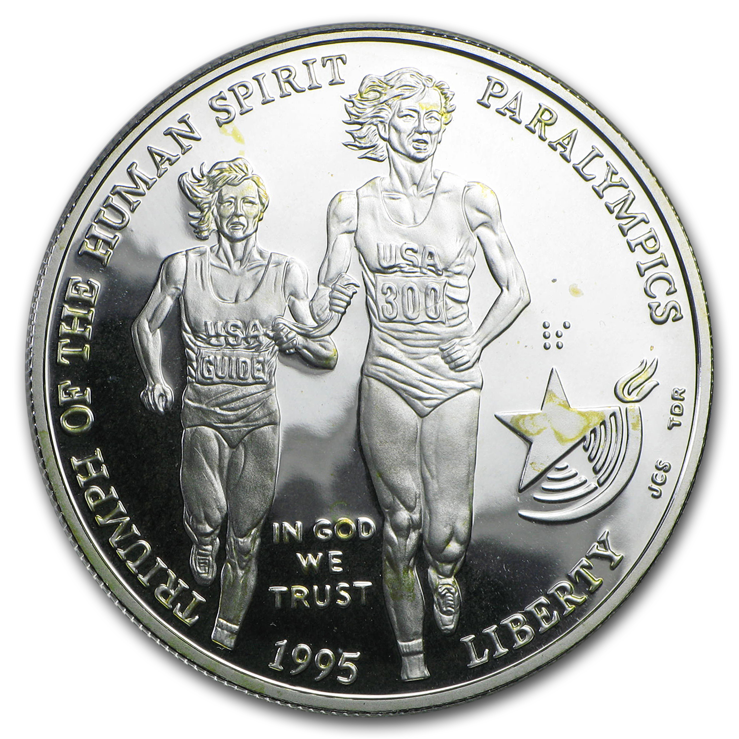 1995-P Olympic Blind Runner $1 Silver Commem Proof (Capsule only)