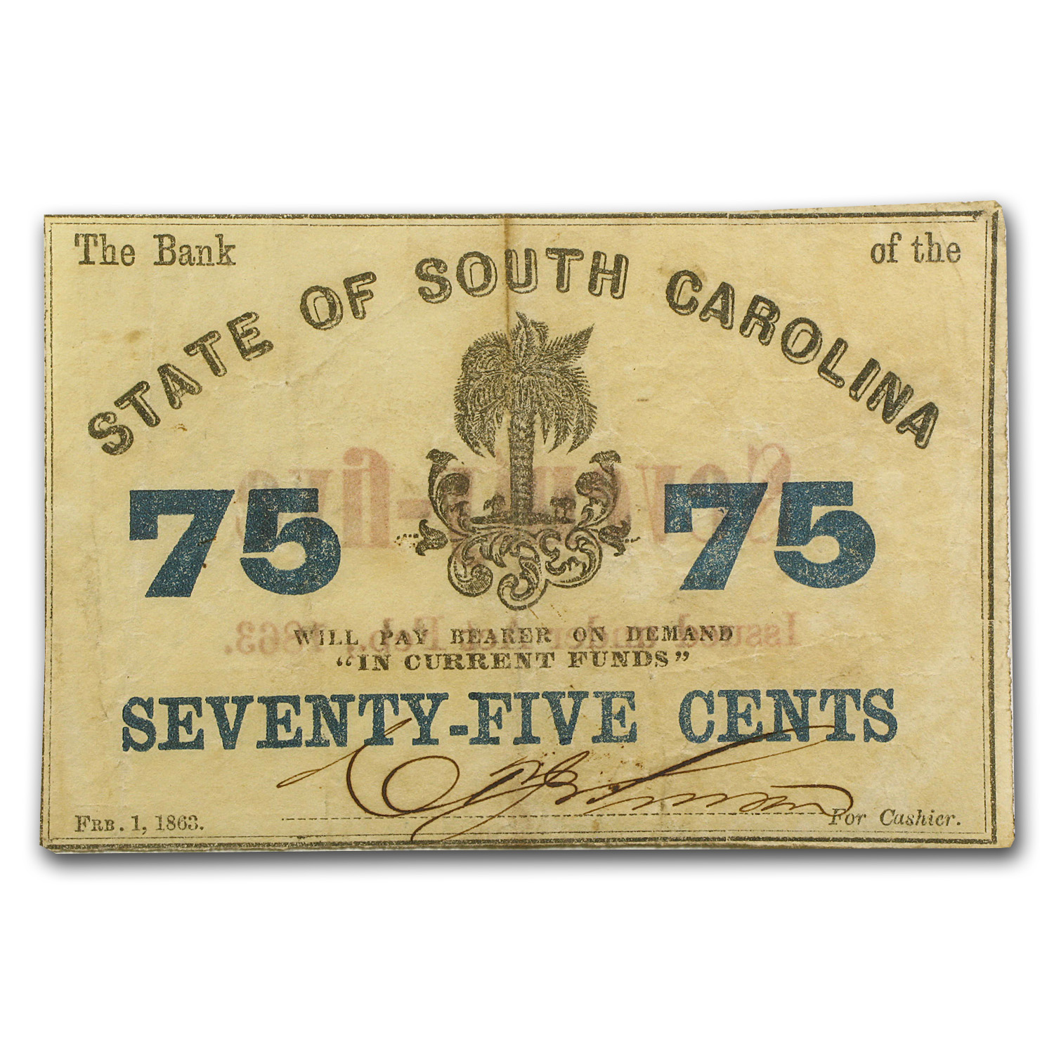 1863 Bank of the State of South Carolina 75 Cents SC-45 VF