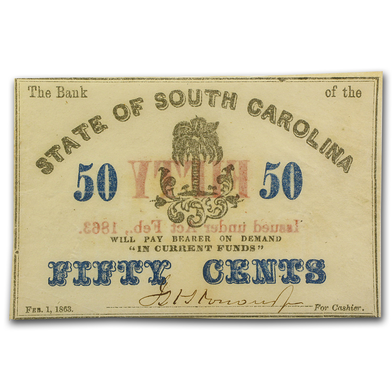 1863 Bank of the State of South Carolina $.50 SC-45 AU