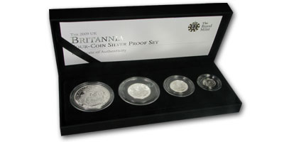 2009 GB 4-Coin Silver Britannia Proof Set (w/Box & COA)