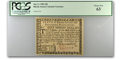 1780 $20 Rhode Island Currency 7/2/1780 PCGS Ch New-63