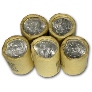 90% Silver Kennedy Halves $10 20-Coin Roll BU ('64, Bank Wrapped)