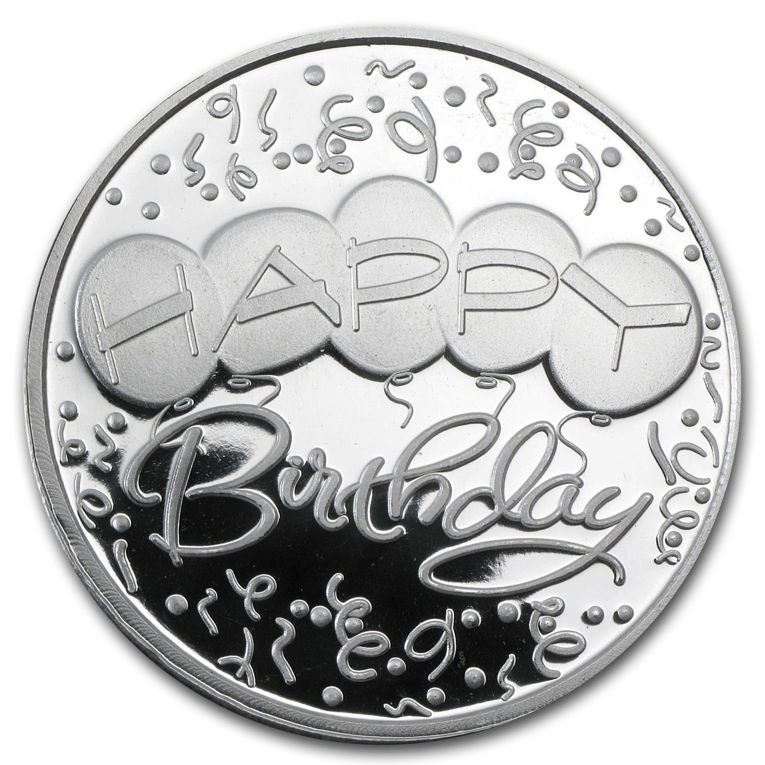 1 oz Silver Round - Happy Birthday Balloons (Box & Caps)