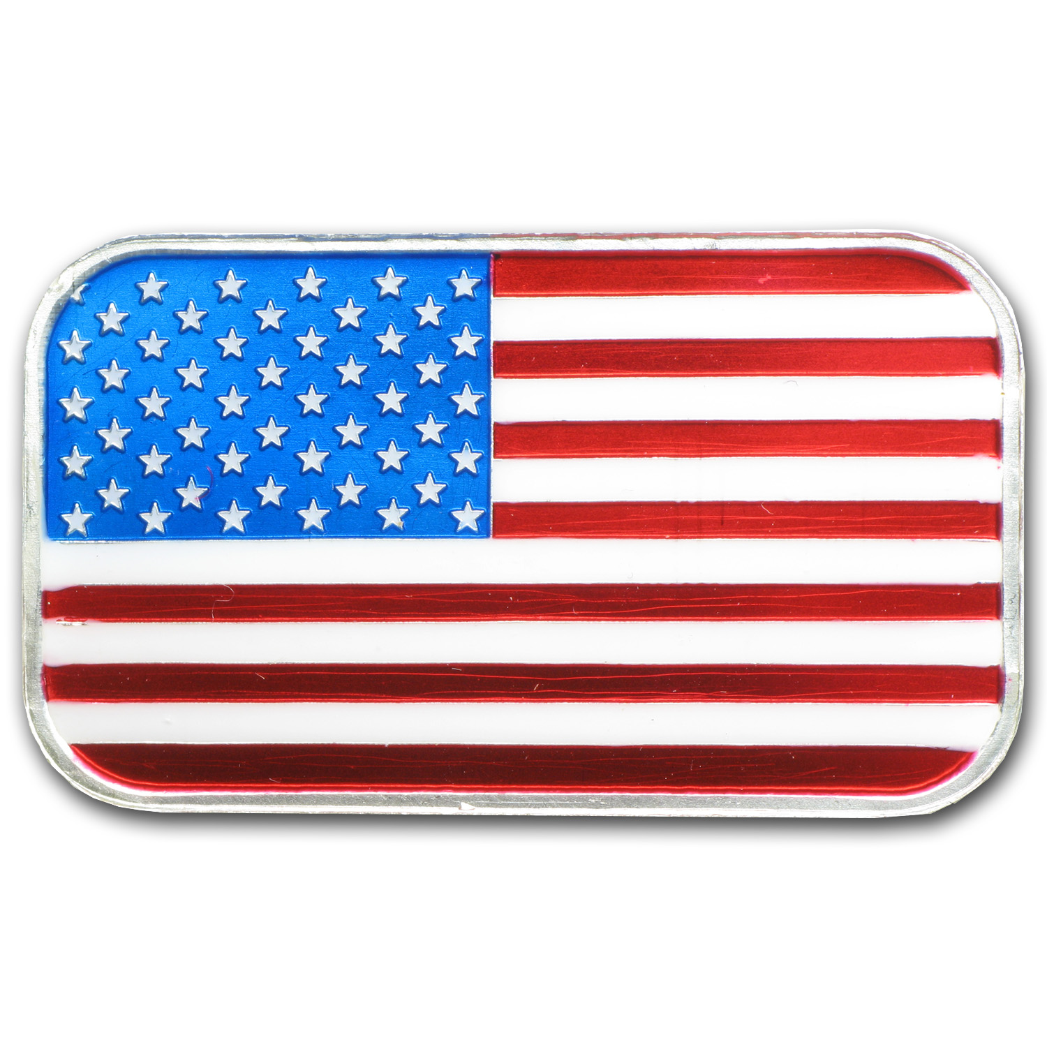 1 oz Silver Bar - American Flag (Enameled, w/Box & Capsule)