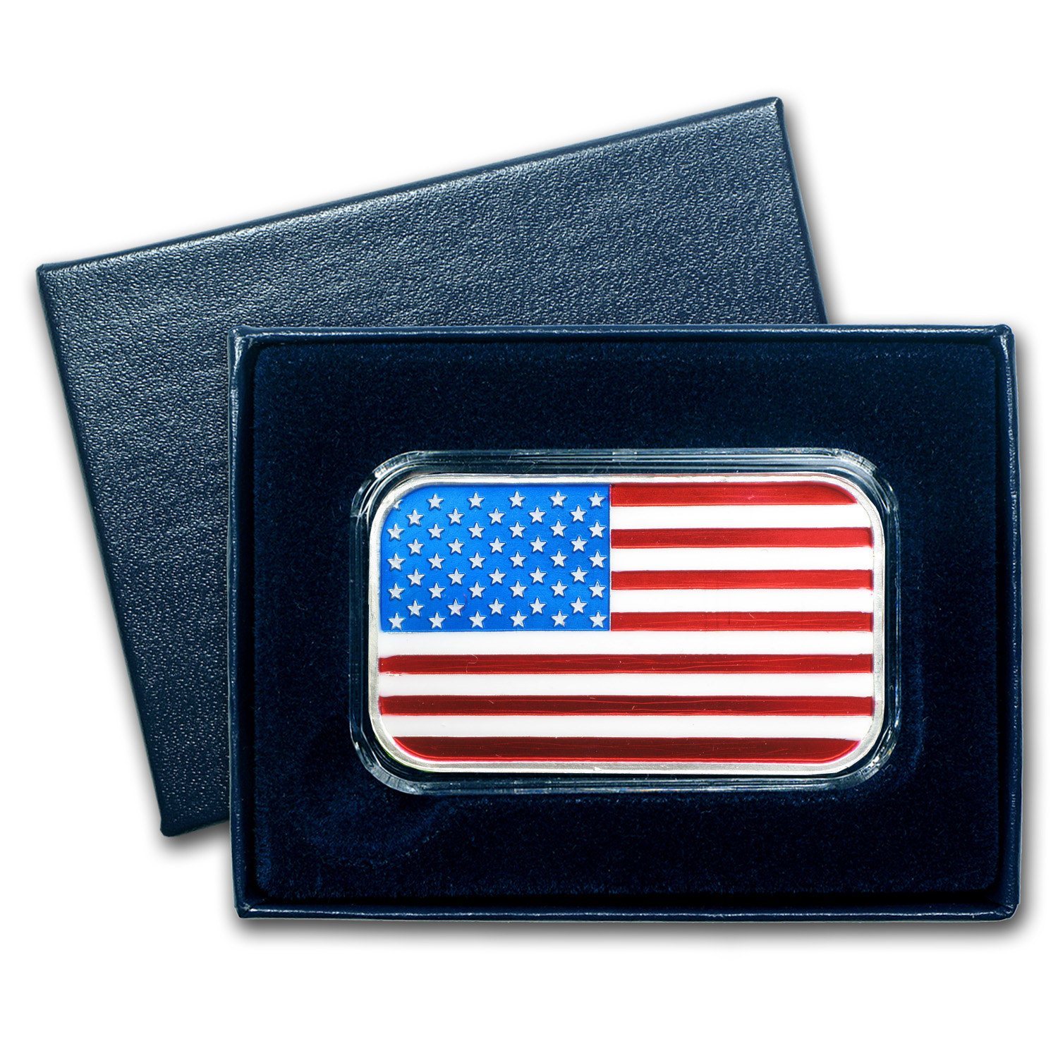 1 oz Silver Bar - American Flag Enameled (w/Box & Capsule)