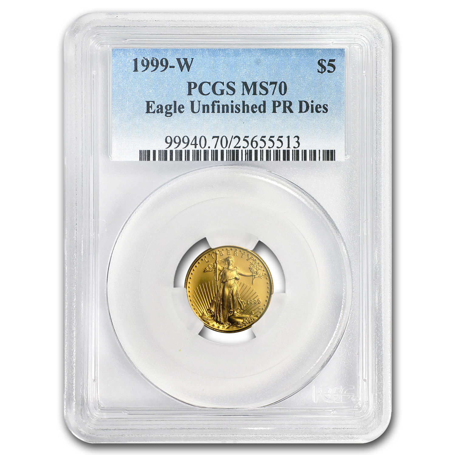 1999-W 1/10 oz Gold American Eagle MS-70 PCGS (W Variety)