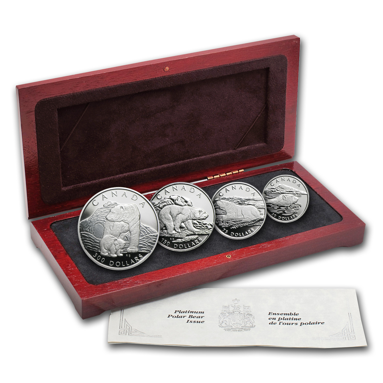 1990 Canada 4-Coin Platinum Proof Set: Polar Bear (w/Box & CoA)