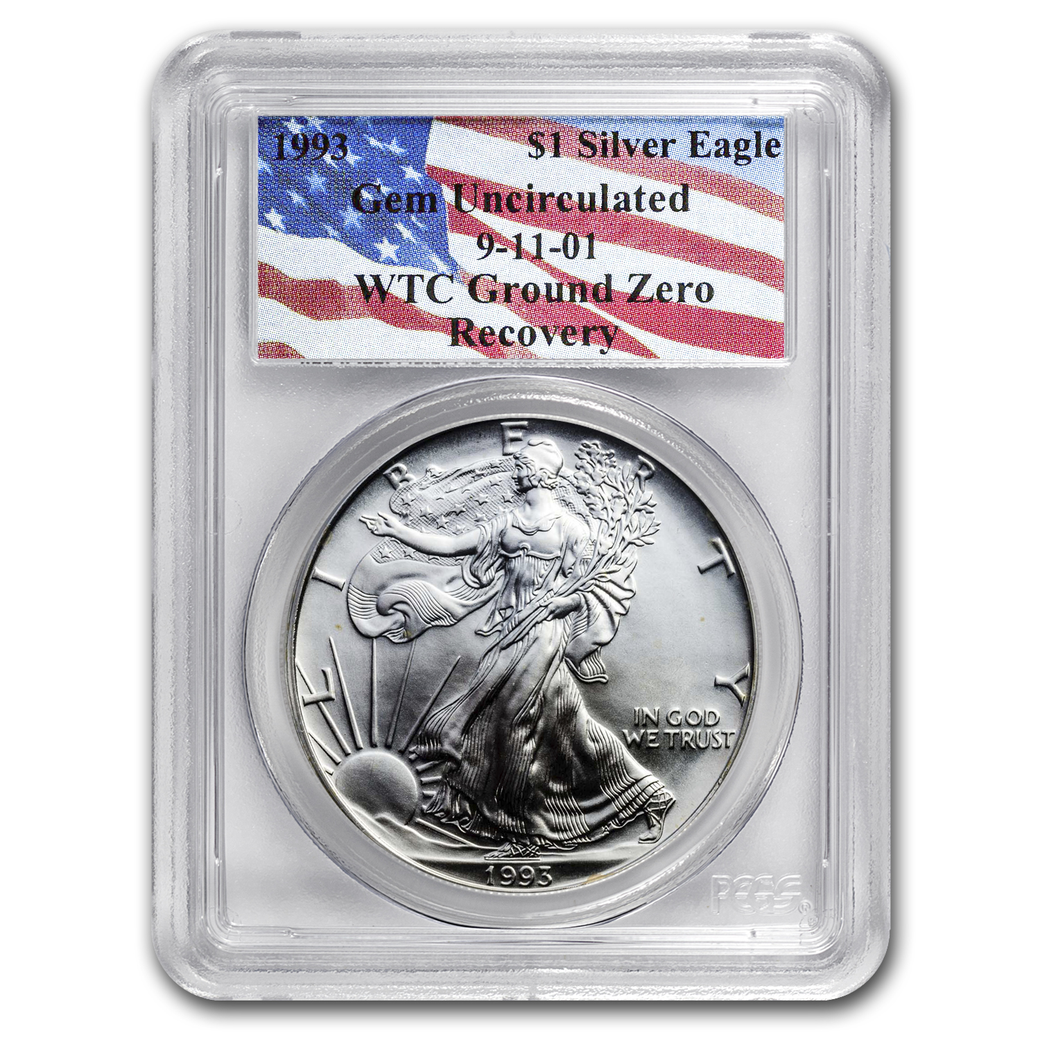 1993 Silver American Eagle Gem Unc PCGS (World Trade Center)