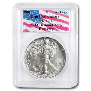 1987 Silver American Eagle Gem Unc PCGS (World Trade Center)