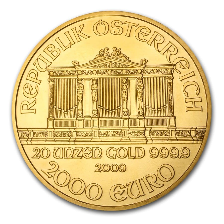 2009 20 oz Gold Austrian Philharmonic BU (20th Ann, w/Box & COA)
