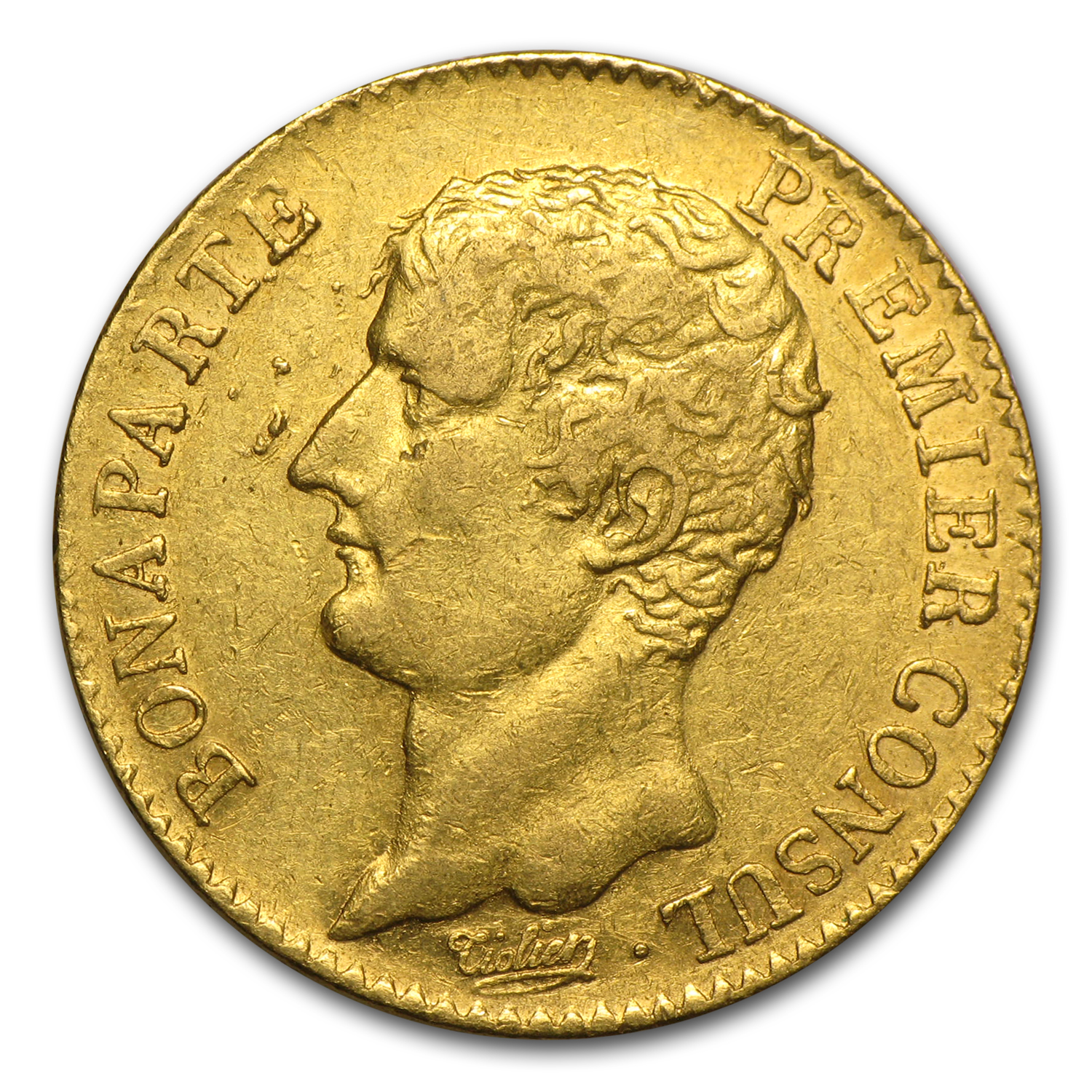 AN12-A France Gold 20 Francs Bonaparte Premier Consul Avg Circ