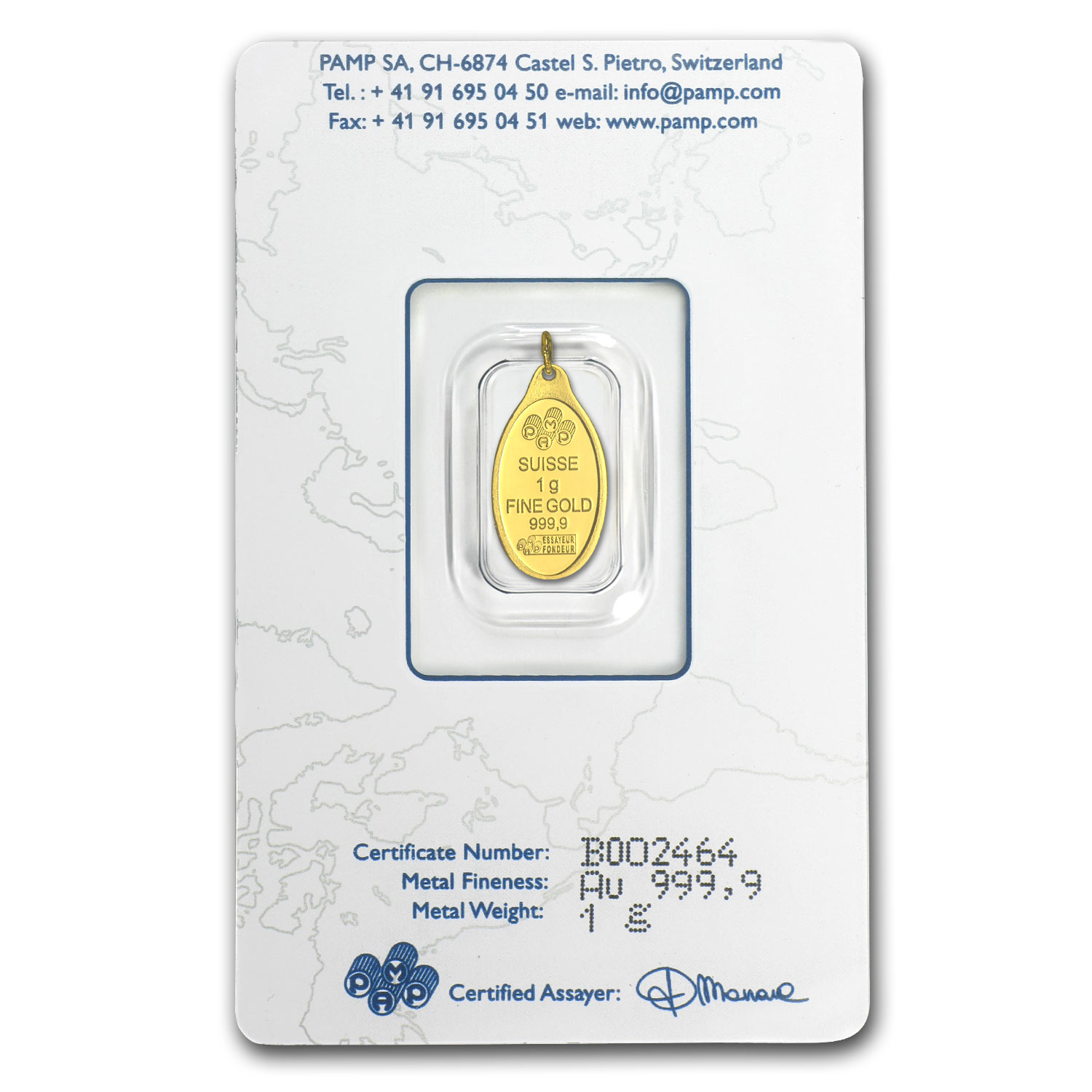 1 gram Gold Pendants - Pamp Suisse (Fortuna, Oval)