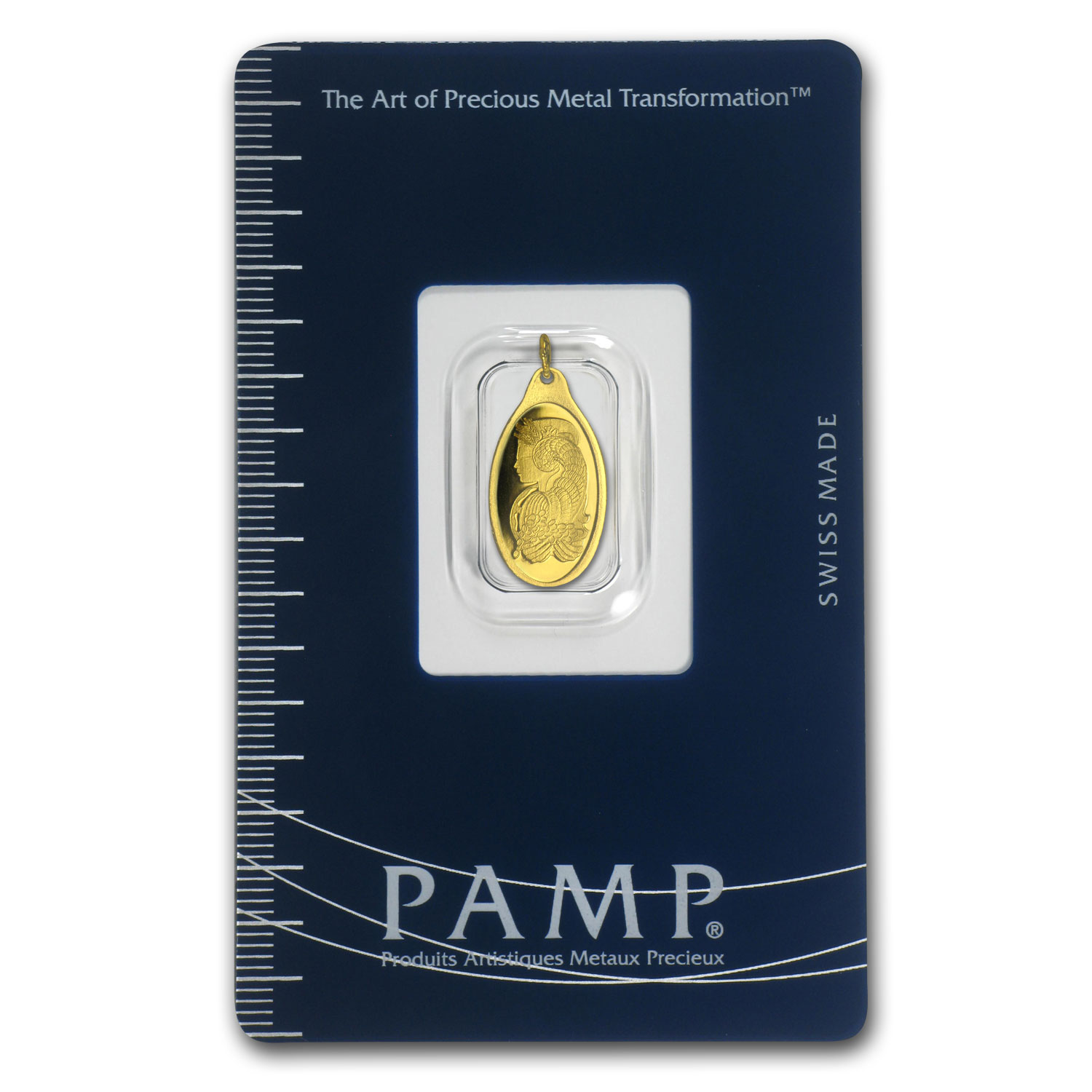 1 gram Gold Pendant - Pamp Suisse (Fortuna, Oval)