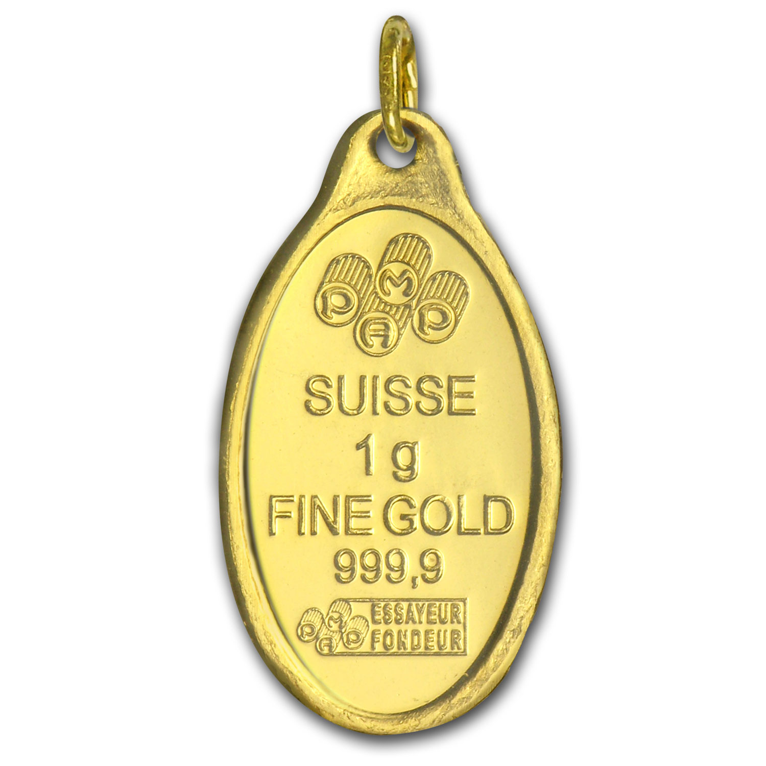 1 gram Gold Pendants - Pamp Suisse (Rose, Oval)