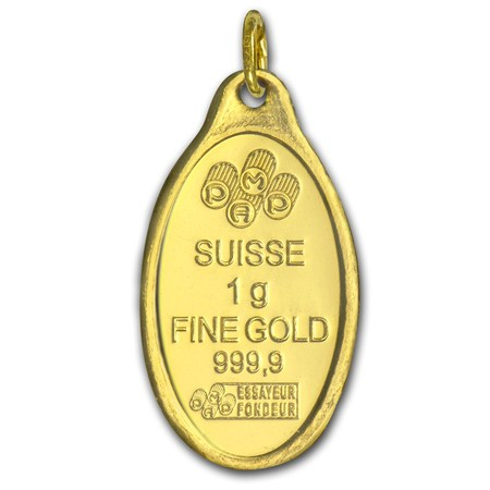 1 Gram Gold Pendant Pamp Suisse Rose Oval Pamp