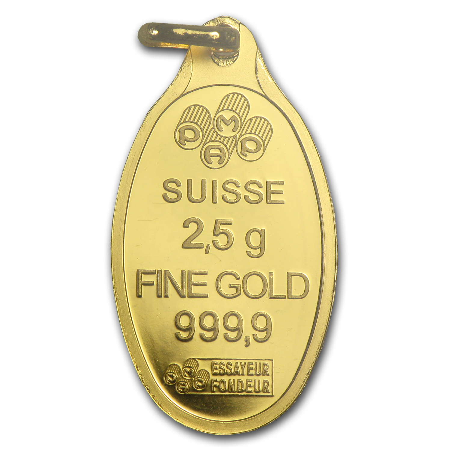 2.5 gram Gold Pendants - Pamp Suisse (Fortuna Oval-Shape)