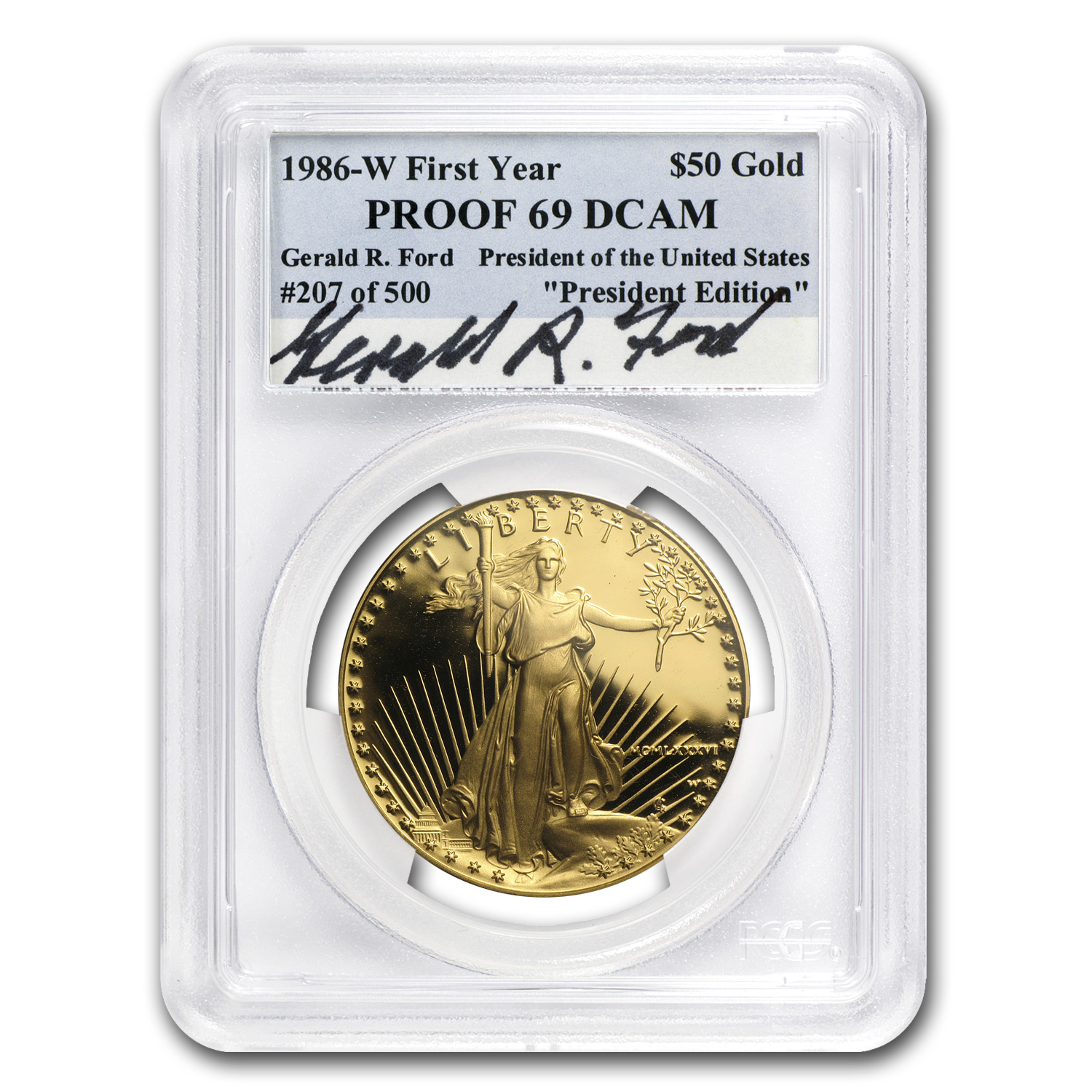 1986-W 1 oz Proof Gold American Eagle PR-69 PCGS (Gerald R. Ford)