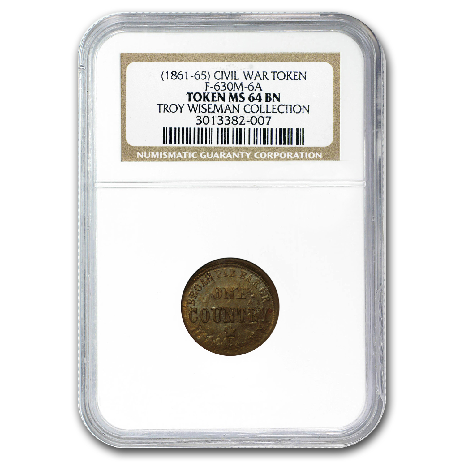 1863 Civil War Token Broas Pie Bakers MS-64BN NGC (NY-630M-6a)