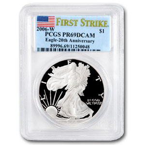 2006-W Proof Silver American Eagle PR-69 PCGS (FS, 20th Anniv)