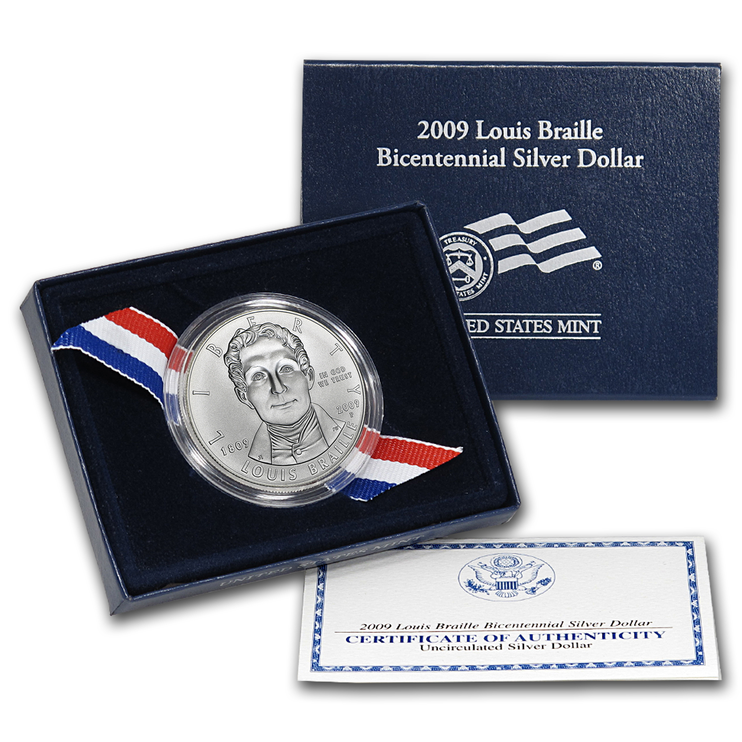 2009-P Louis Braille $1 Silver Commem BU (w/Box & COA)