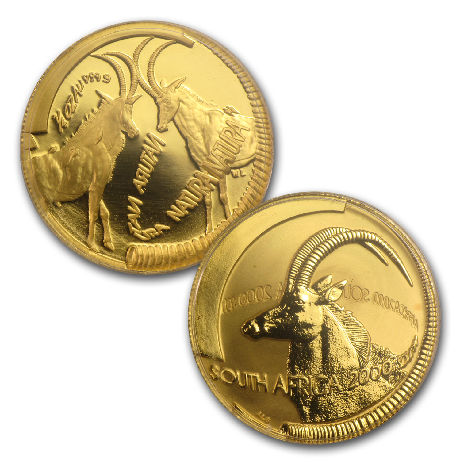2000 South Africa 3-Coin Gold Natura Sable (Antelope) Proof Set