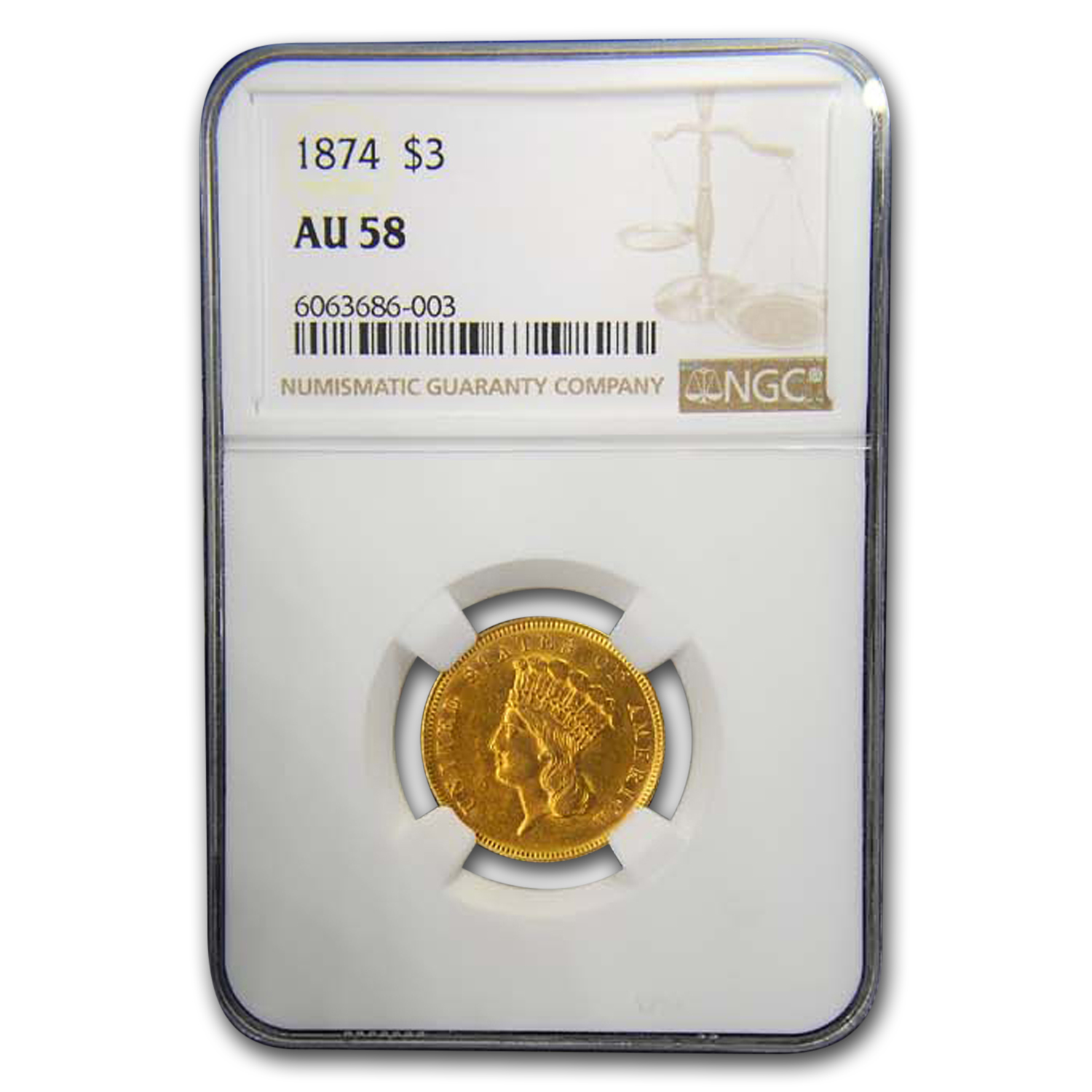 1874 $3 Gold Princess AU-58 NGC