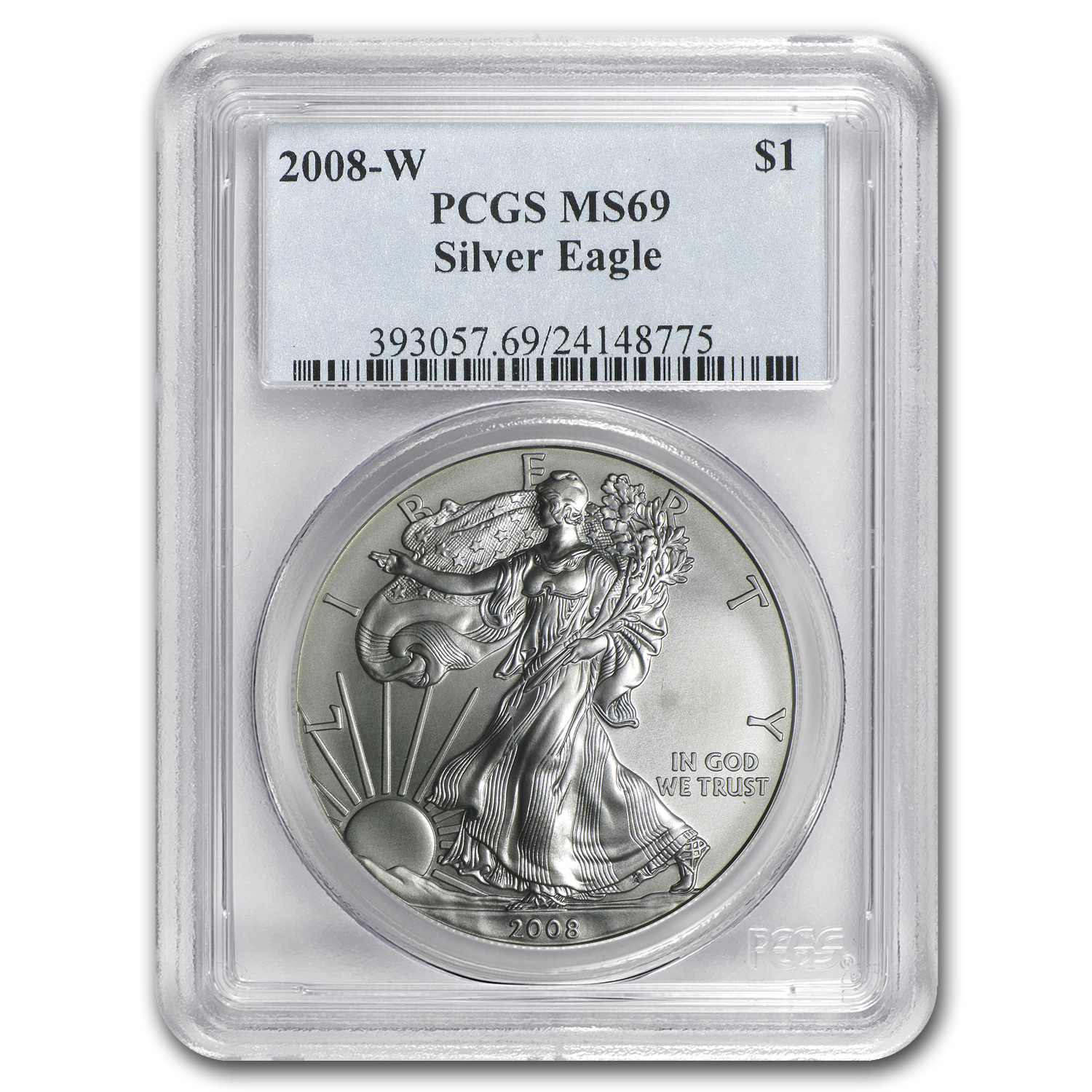 2008-W Burnished Silver American Eagle MS-69 PCGS