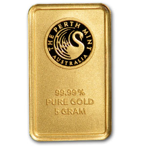 5 gram Gold Bars - Perth Mint (Plain back)