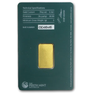 5 gram Gold Bar - Perth Mint (Plain back)
