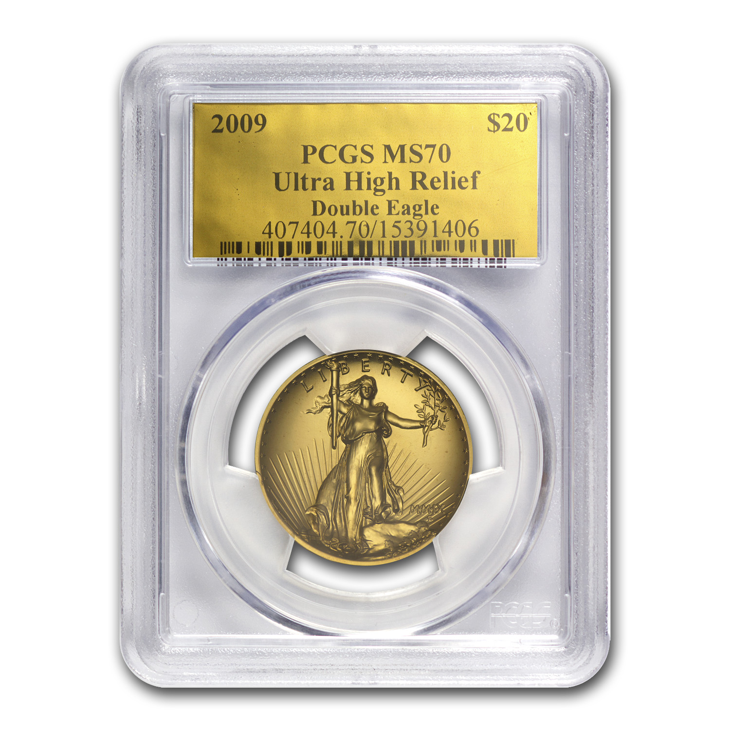 2009 Ultra High Relief Double Eagle MS-70 PCGS (Gold Foil Label)